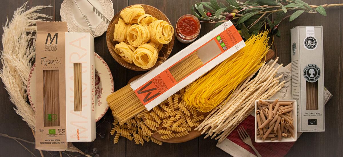 イタリアの高品質、有機栽培のパスタ専門